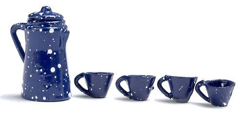 Dollhouse City - Dollhouse Miniatures Coffee Set - Blue Spatter Coffee