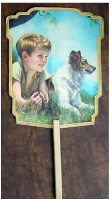 Church Hand Fan - Boy and Dog