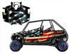 American Flag Tattered wrap graphics for RZR4 900xp with doors