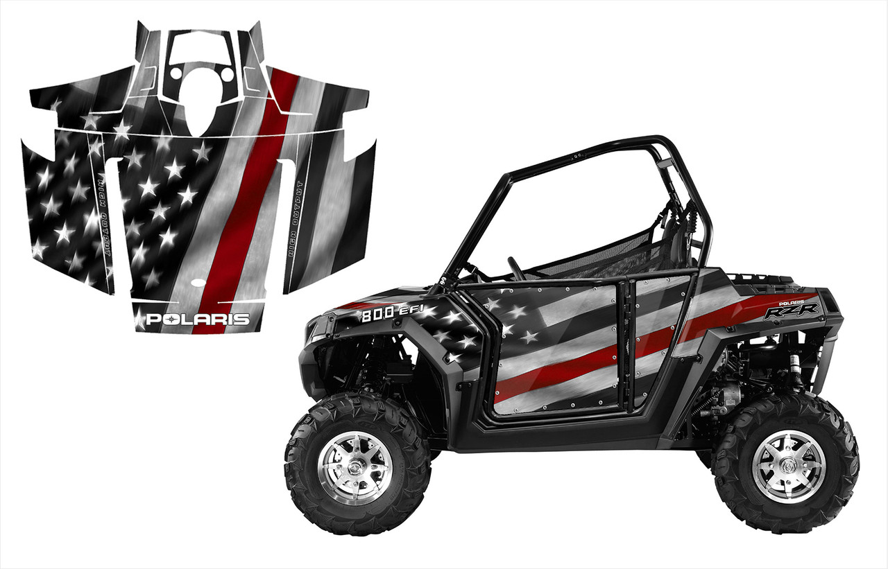 2007-2010 Polaris RZR 800 with Thin Red Line wrap graphics kit
