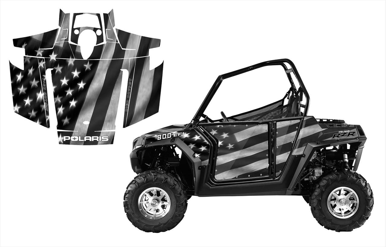 2007-2010 Polaris RZR 800 with U.S. BW flag wrap graphics kit