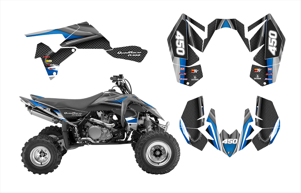 Suzuki LTR 450 racing graphics by All Motor Graphics. Thick, durable, pliable, guaranteed to stick to racing plastics.l
