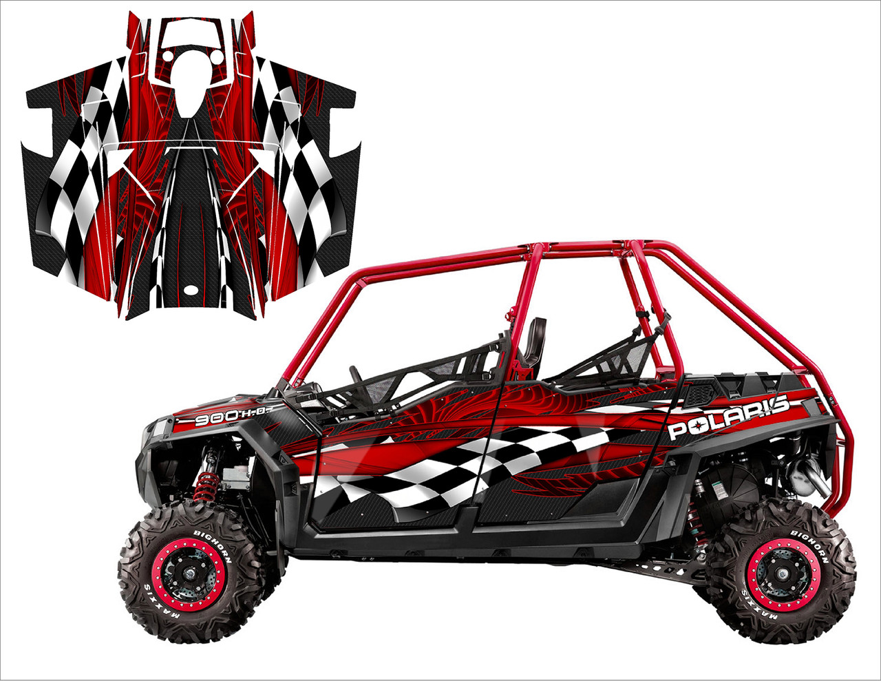 2011 RZR XP4 900 utv wrap kit with red checker design