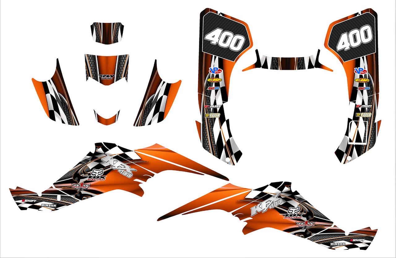 2003 Orange Kawasaki KFX400 sticker kit designed by All Motor Graphics