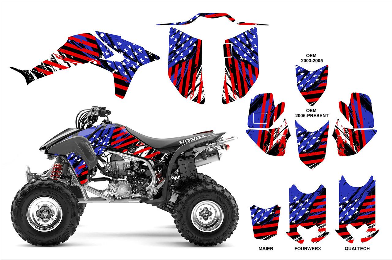 US flag theme graphics kit for Honda 450R quads