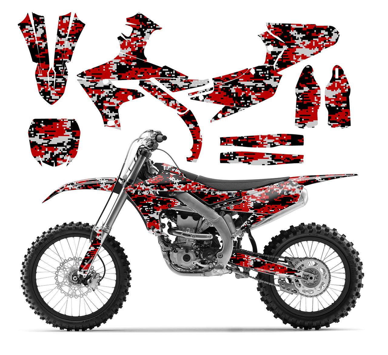 Red Digital Camo graphics sticker kit for 2019 Yamaha YZ450F, YZ250F