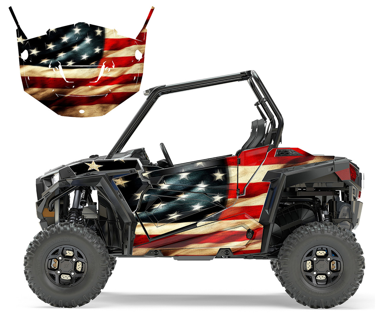 2015-2018 Polaris RZR 800 graphics wrap kit with Tattered American Flag design
