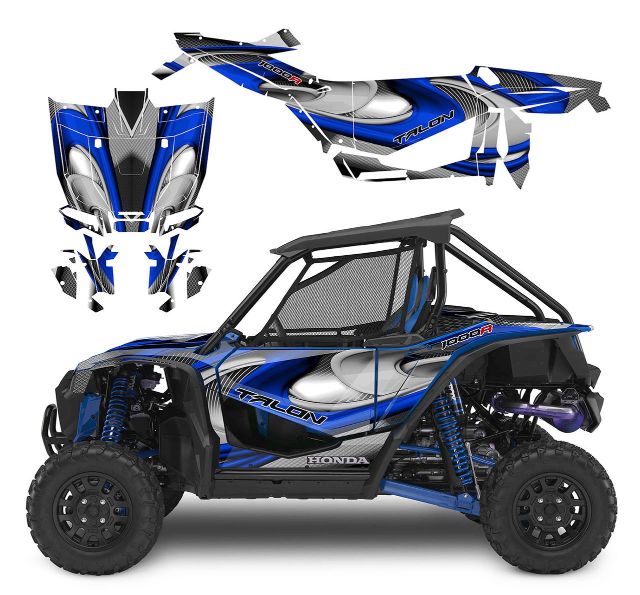 Blue Honda Talon custom graphics kit