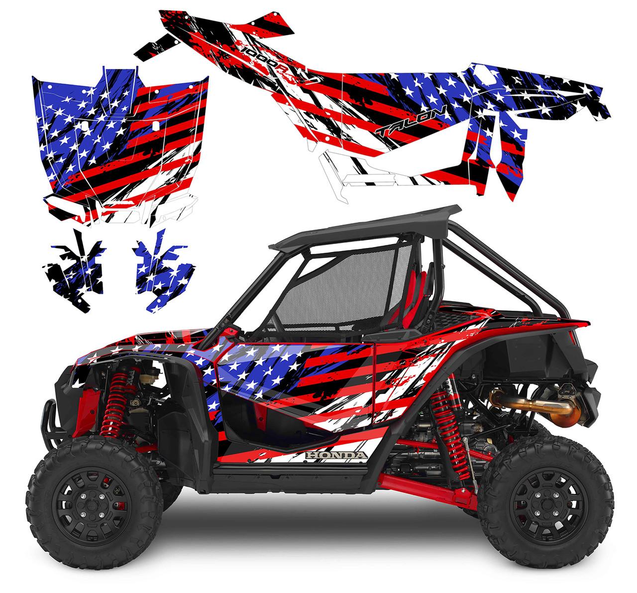 American Flag Racing Stripes utv wrap kit for Honda Talon