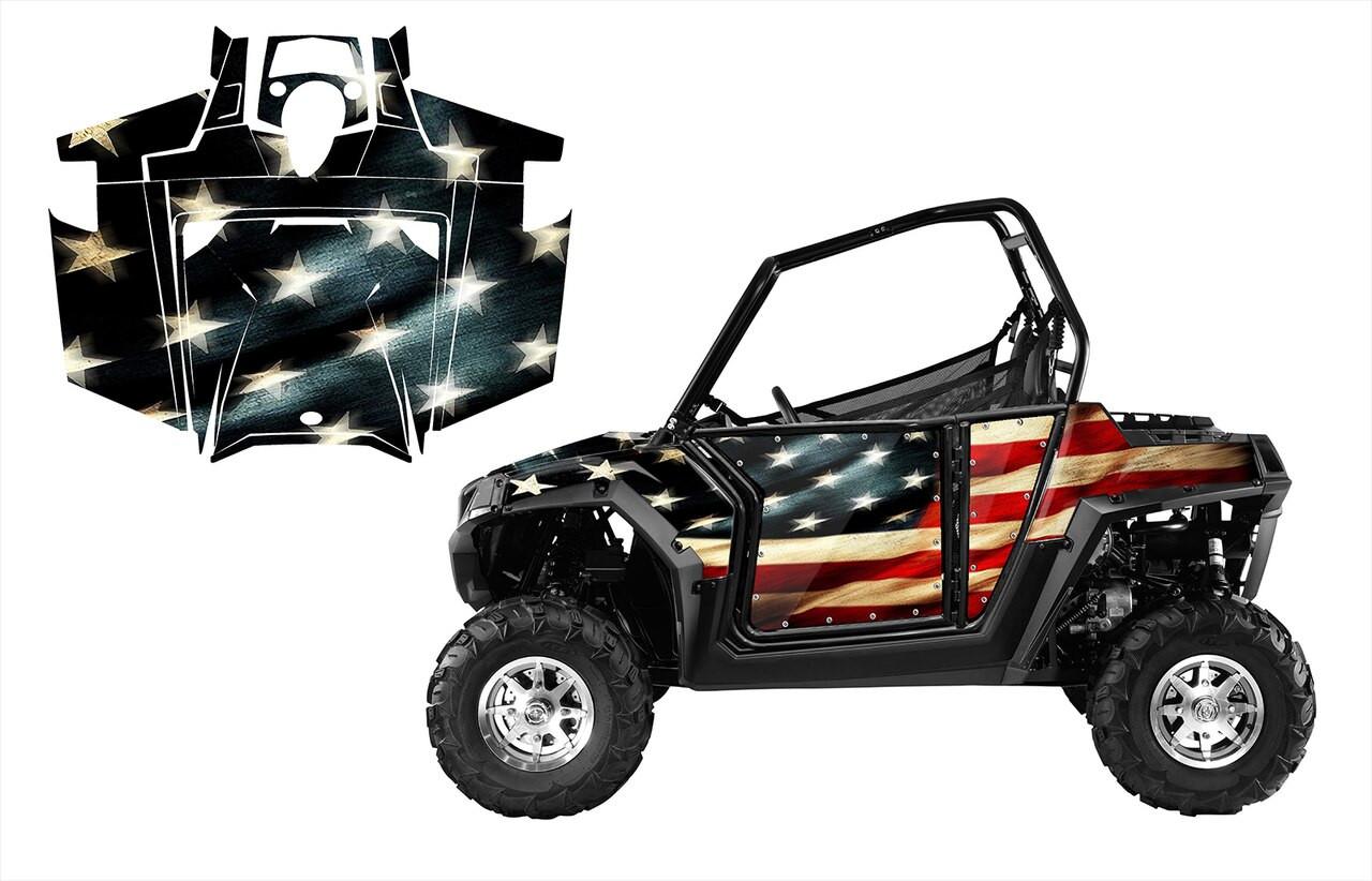 American Flag Tattered UTV graphics for Polaris RZR800