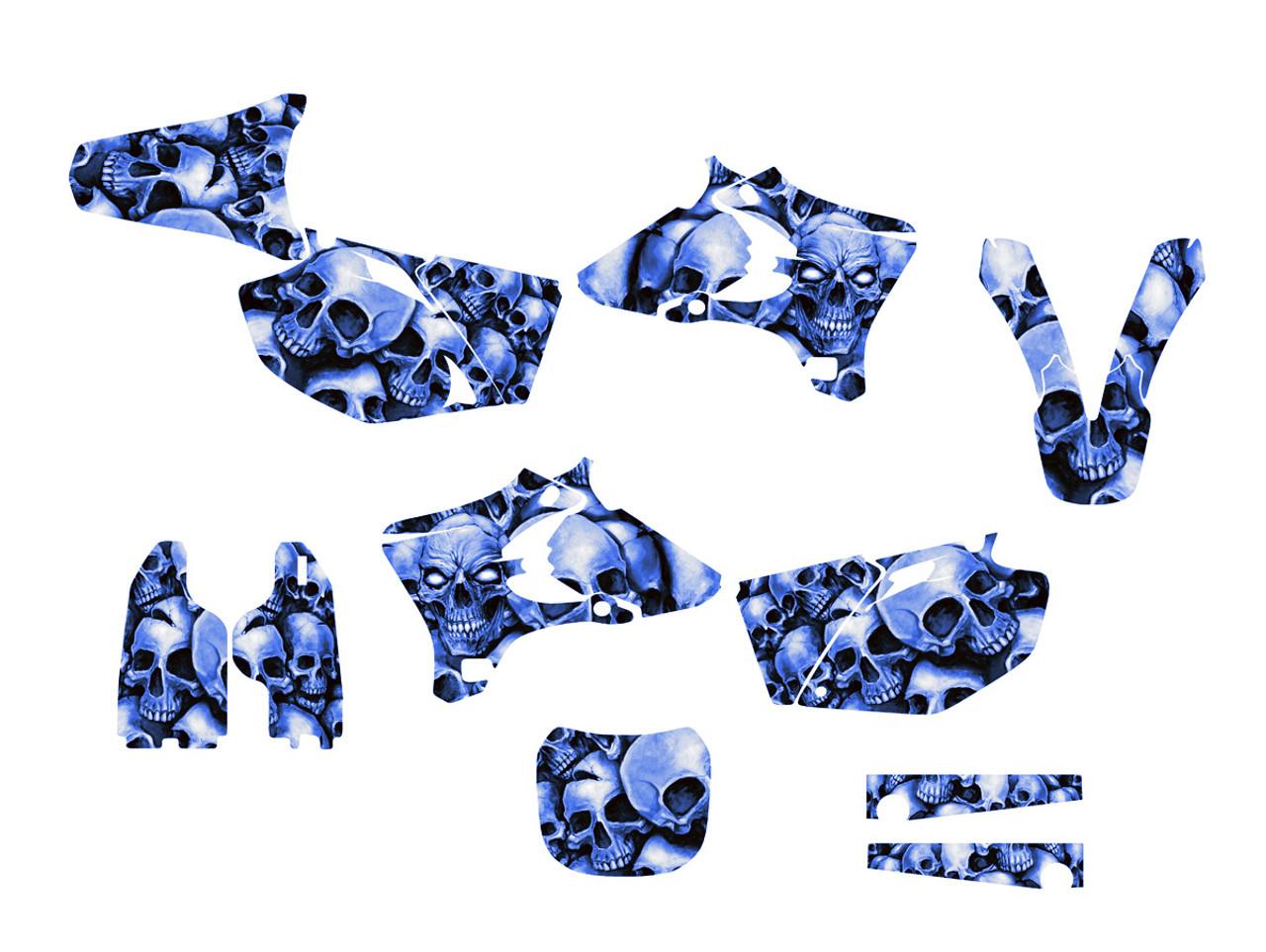 Yamaha YZ250F and YZ450F graphics sticker kit with blue boneyard
