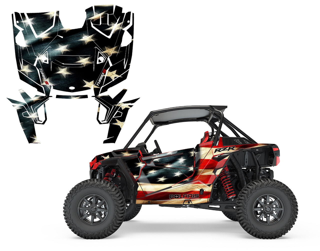 2019 RZR 1000 Turbo S XP graphics with Tattered American Flag design