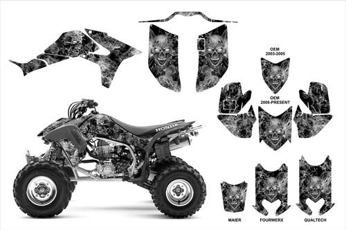 Honda TRX450R custom graphics with Maier, Fourwerx and Quadtech hoods