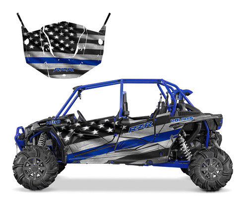 RZR4 1000 graphics with Thin Blue Line design