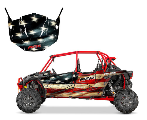 RZR4 graphics with Tattered US flag