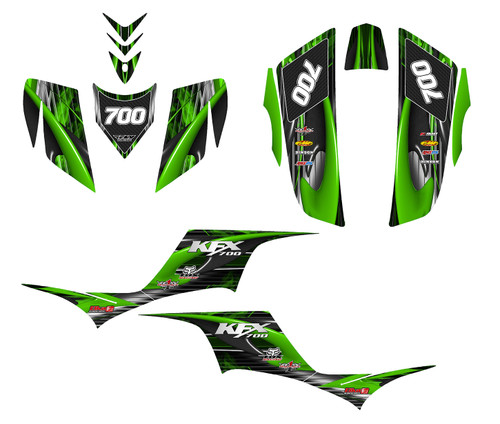 KFX700 custom graphics with rider ID and your choice of logo addition