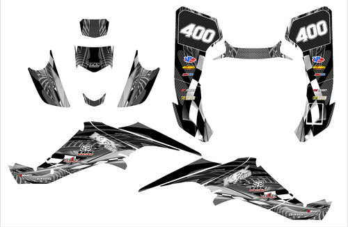 KFX400 graphics decal kit designed by All Motor Graphics