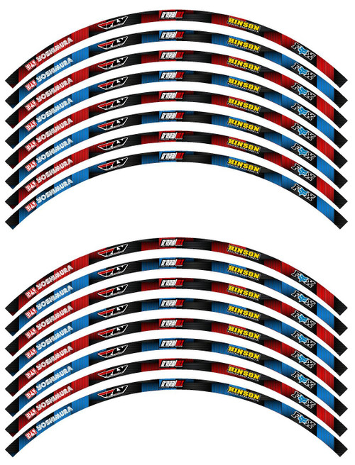 Blue Dirt Bike Rim Decal Set 19 in & 21 in