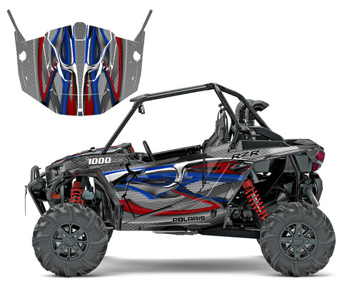 Red and blue RZR1000 graphics
