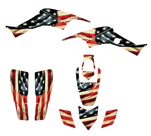 American Tattered Flag quad graphics by allmotorgraphics.com