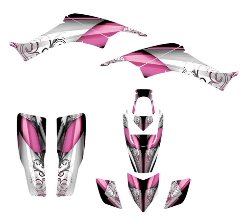TRX400 graphic kit with pink feminine design