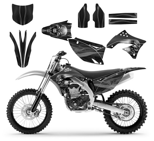 2010 KX 450f custom decal graphic kit with skull design