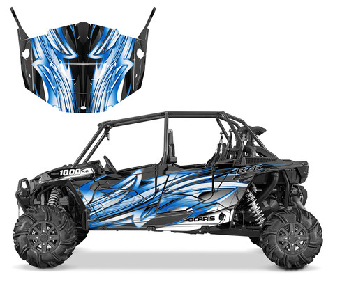 2015 RZR XP4 graphic wrap kit with matching upper and lower OEM doors.