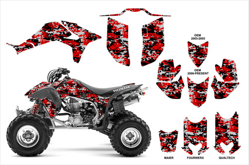 Honda TRX450r red digital camo graphics kit