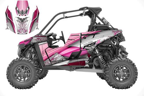 Pink Polaris RZR RS1 utv wrap kit designed by allmotorgraphics.biz