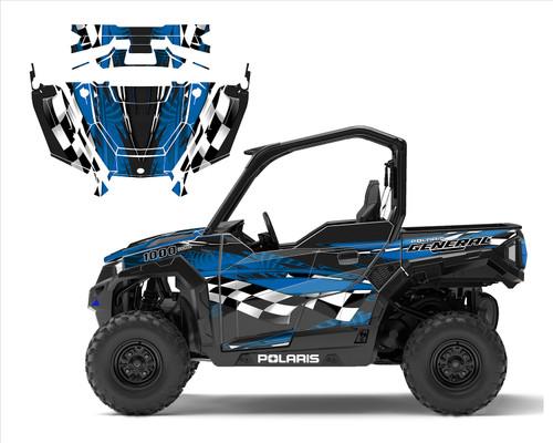 Polaris General 1000 wrap kit with checker flag racing design