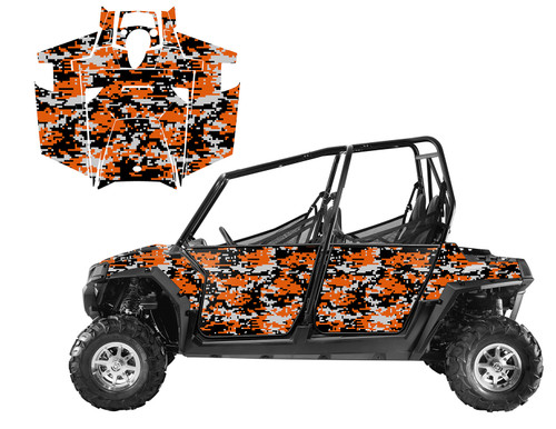2014 RZR4 800 graphics kit with digital camo pattern