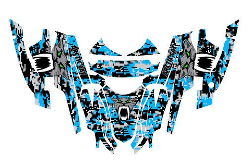 Blue digital camo snowmobile wrap kit for Arctic Cat Firecat F6