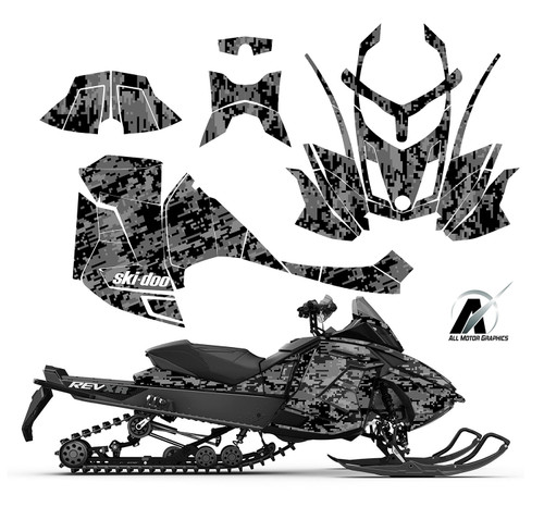 Black Metal Digital Camo graphic kit for Ski-doo XR 1200 sled