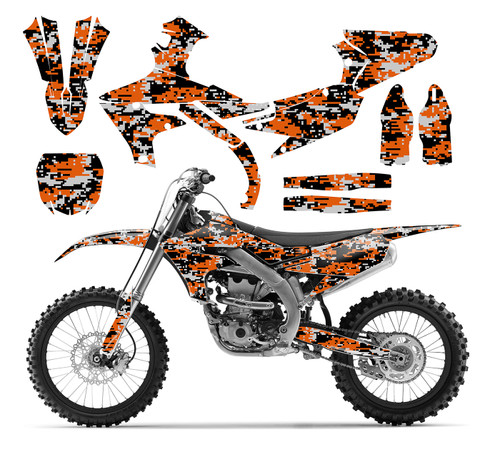 Orange Digital Camo graphics sticker kit for 2019 YZ450F