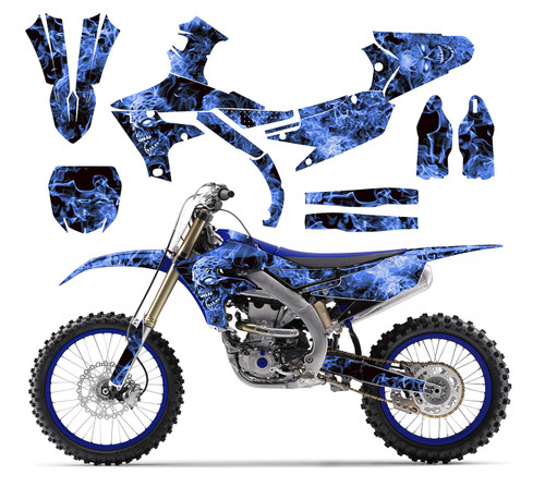 2019 YZ 250F custom sticker kit with blue zombie
