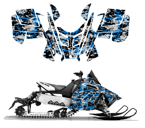 Blue digital camo wrap graphic kit for Polaris Pro R RMK snowmobile 2015