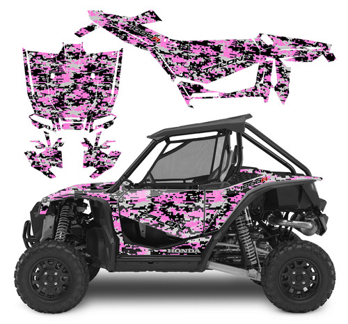 Pink Honda Talon digital camo wrap graphics