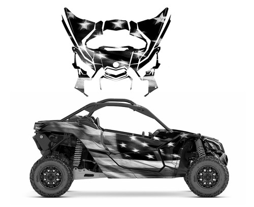 Black and white Tattered American Flag wrap graphics kit for Maverick X3