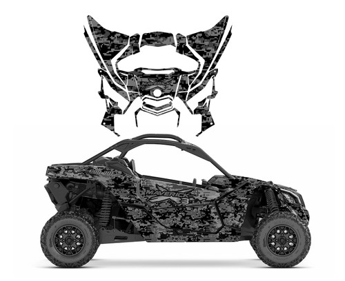 2019 Maverick X3 wrap graphic kit with Black Digital Camo Design