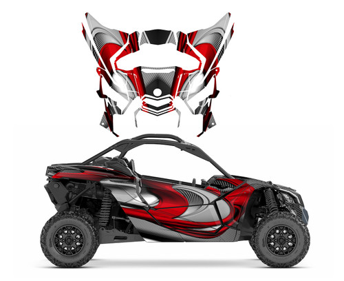 Red Can am Maverick X3 graphics wrap kit