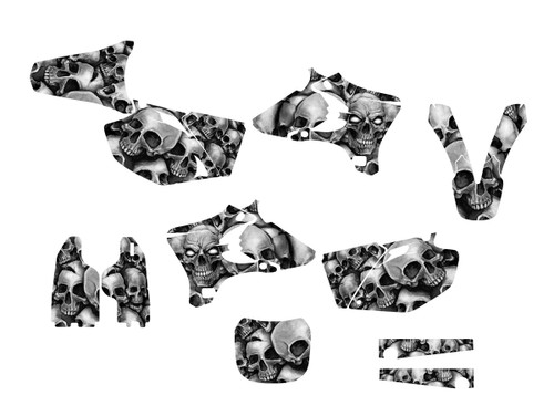 Yamaha YZ250F and YZ450F graphics sticker kit with black and white boneyard