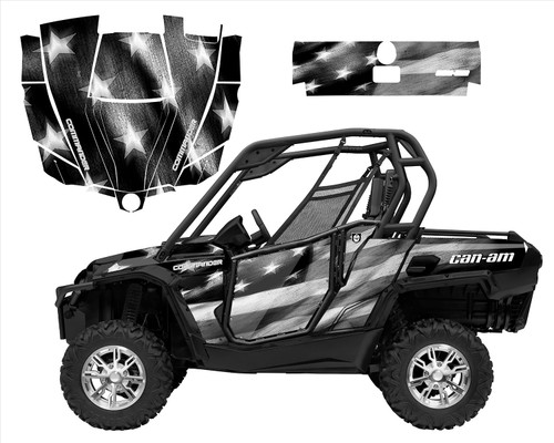 Can am Commander graphics wrap kit with Black White Tattered American Flag