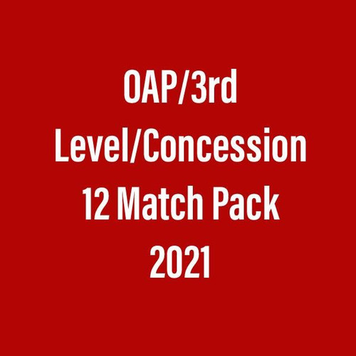 Season Ticket 2021 (12 match package) OAP/3rd Level Student/ Concession