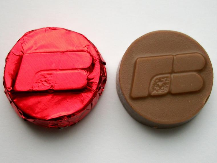 100 Milk chocolate Farm Bureau  mints wrapped in red foil.