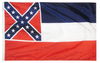 Historic Mississippi state flag finished with a heading and grommets