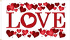"""Love"" Valentines Day Theme Flag  - Nylon Material Finished with a Sturdy Fabric Heading and Grommets"