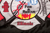 Huntley Fire Department Embroidered Flag - Close up