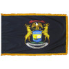 Michigan flag with pole sleeve and fringe
