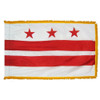 District of Columbia flag with pole sleeve and fringe