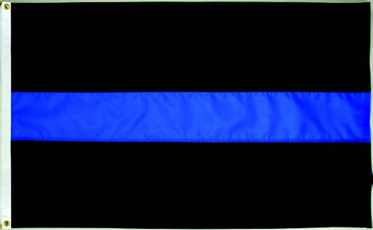 Reinforced header! Police Thin Blue Line Distressed Finish American Flag 3x5